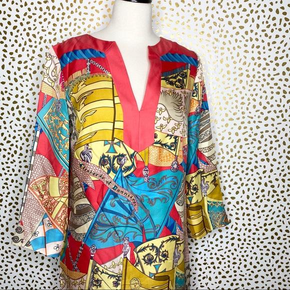 J. McLaughlin Silk Graphic Print Tunic Dress
